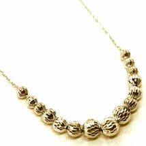 18K YELLOW GOLD NECKLACE, ALTERNATE FACETED CENTRAL WORKED BALLS SPHERES  image 2