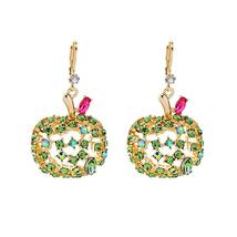 Green Crystal Hollow Alloy Apple Fruit Drop Earrings For Women Wholesale... - $14.06
