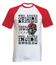 Carl Jung Who Looks Outside QUOTE- New Cotton Baseball Tshirt All Sizes - $26.81