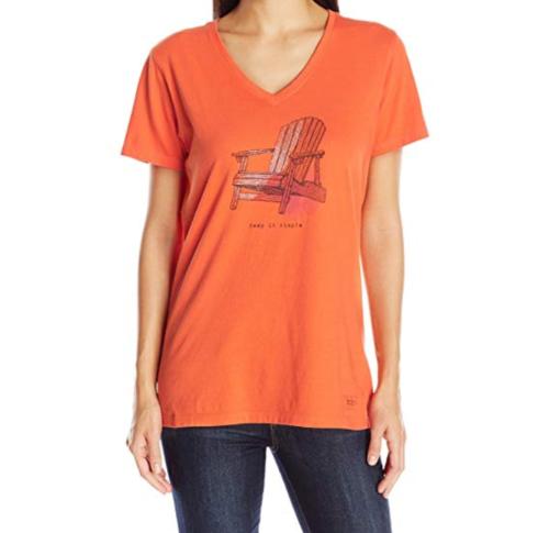 Medium 8-10 Life is Good Women's Crusher Tee T-Shirt Shirt Coral Adirondack