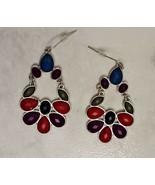 Silver Tone Blue Purple Green Red Beaded Teardrop Dangle Drop Earrings - $9.99