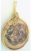 Celtic Knotwork Scrimshaw  SeaHorse Brass Wrap Pendant 10 - $27.85