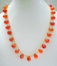 vintage carnelian gemstone faceted drops beads necklace ECL strand - $108.90
