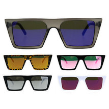 Womens Color Mirror Squared Flat Top Goth Cat Eye Sunglasses - £7.13 GBP