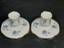 Corringes english bone china candle stick holders blue roses on white w/... - $15.00