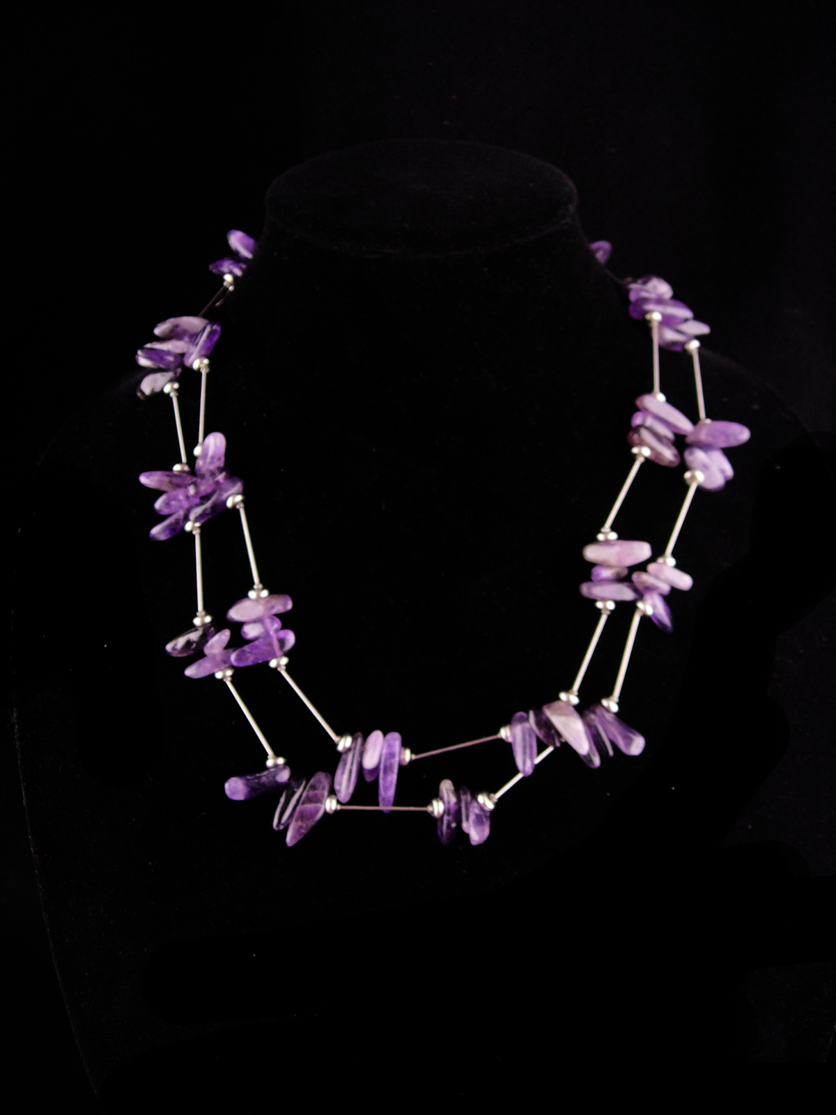 Primary image for Dramatic Amethyst Necklace / Purple Vintage hippie jewelry / Tribal necklace / 6