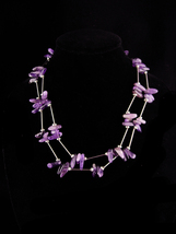 Dramatic Amethyst Necklace / Purple Vintage hippie jewelry / Tribal neck... - $110.00