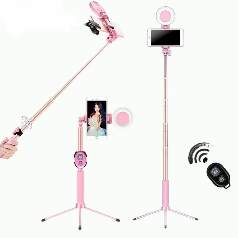 Selfie Stick LED Ring Light Stand 1.7M Extendable Monopod Universal Phones Mount