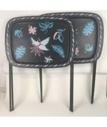 Set 2 VTG Mid Century 50s 60s Metal Folding TV Tray Snack Stands Tea Tab... - $69.29