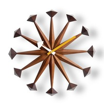 George Nelson Polygon Clock Daiva Walnut Brown Designer Japan New - $248.83
