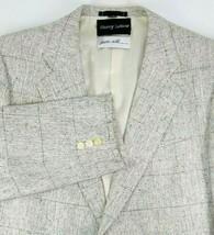 Harry Lebow Mens Silk Sport Coat Size 42 Short Silver Black Windowpane 1... - $59.35