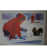 Children with Sled Feeding Winter Squirrel Vintage David C Cook Litho Ar... - $10.80