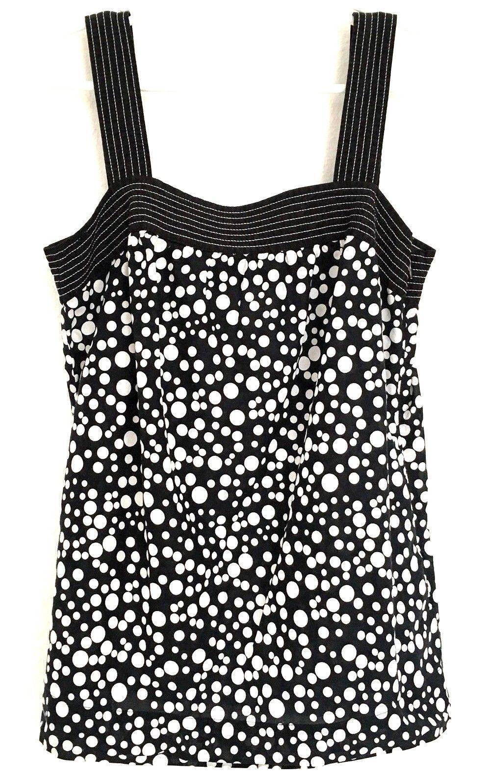 7d171aa08de 57. 57. Previous. Ann Taylor Loft Womens 4 Shirt Sleeveless Black White  Career Square Neck Tunic