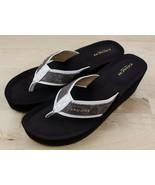 Genuine COACH Wedge Sandals JOLENE Brown Thong Leather -Women's Size 9 B - $39.99