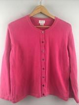 Foxcroft Cardigan M Medium Pink Sweater 100% Cotton Made in Peru - $13.37