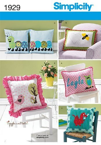 Simplicity Pattern 1929 Appliqued Pillows Designed by Giggles and Toots