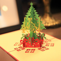 Merry Christmas Tree 3D Card Laser Cut Paper Christmas Greeting Cards Christmas  - $8.58