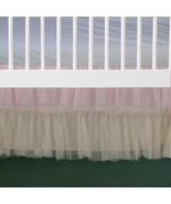 2 Tiered Pink and Cream Tulle Ruffled Crib Skirt / Mini Crib Skirt - $41.99+