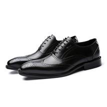 Handmade Men's Black Wing Tip Brogues Dress/Formal Leather Oxford Shoes image 1