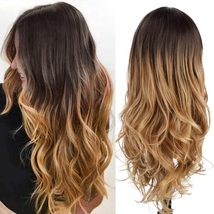 AISI QUEENS Long Wavy Wig Ombre Brown Wigs for Women Synthetic Side Part... - $31.08