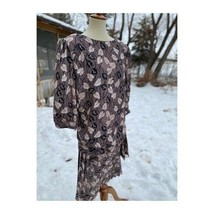 Vintage Early 80s Blouson Pleated Dress Leaf Pattern Bow Sz 5X - $54.45