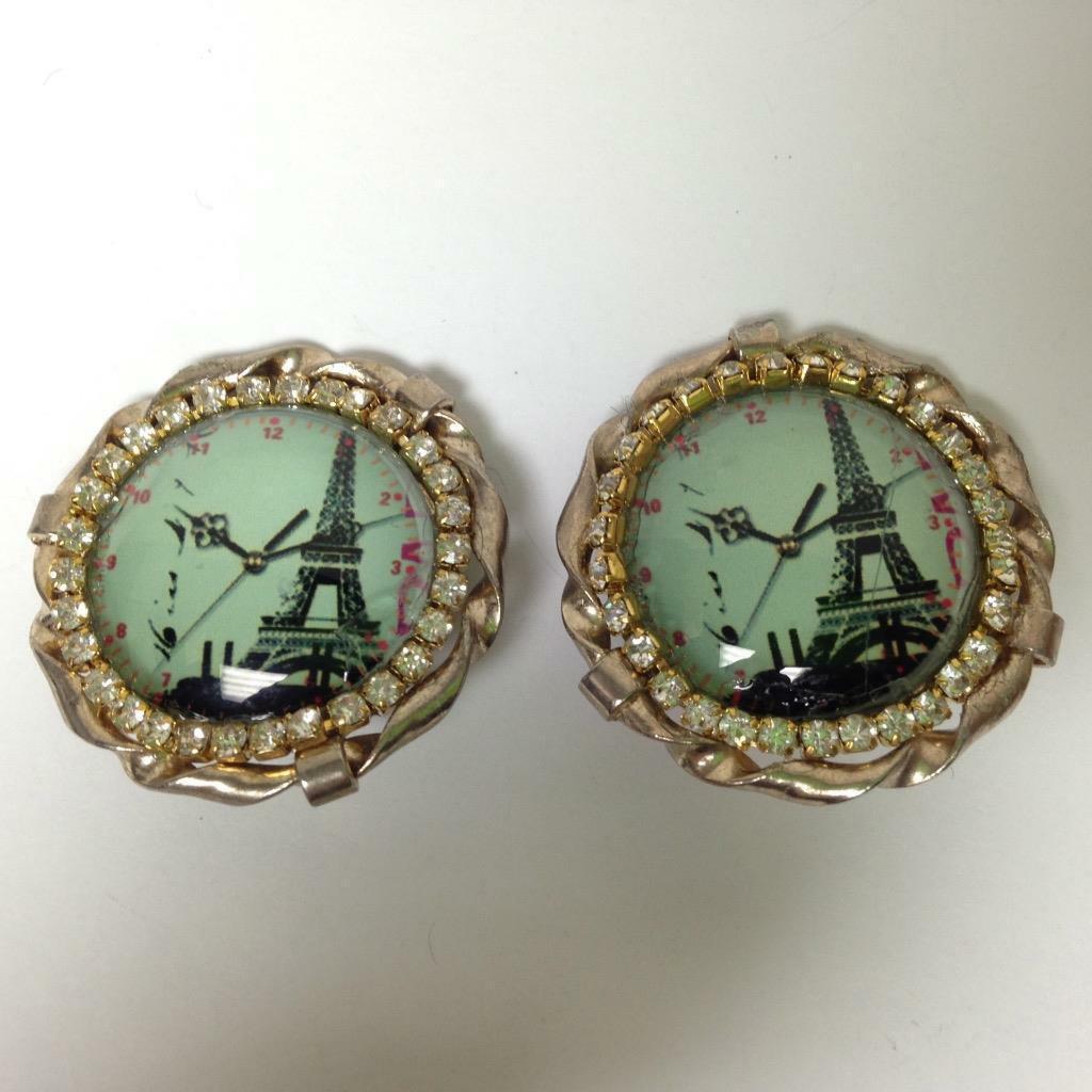Vintage, Rare 1950s, Gold Tone, Paris Landmark-Rhinestones Clip Earrings