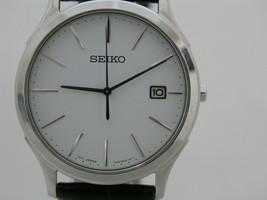 Seiko men analog round case classic white case with white dial SGEE07 - $128.83