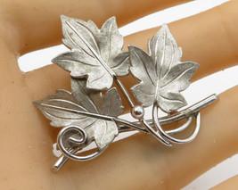 925 Sterling Silver - Vintage Carved Floral Leaves Brooch Pin - BP1496 - $25.39