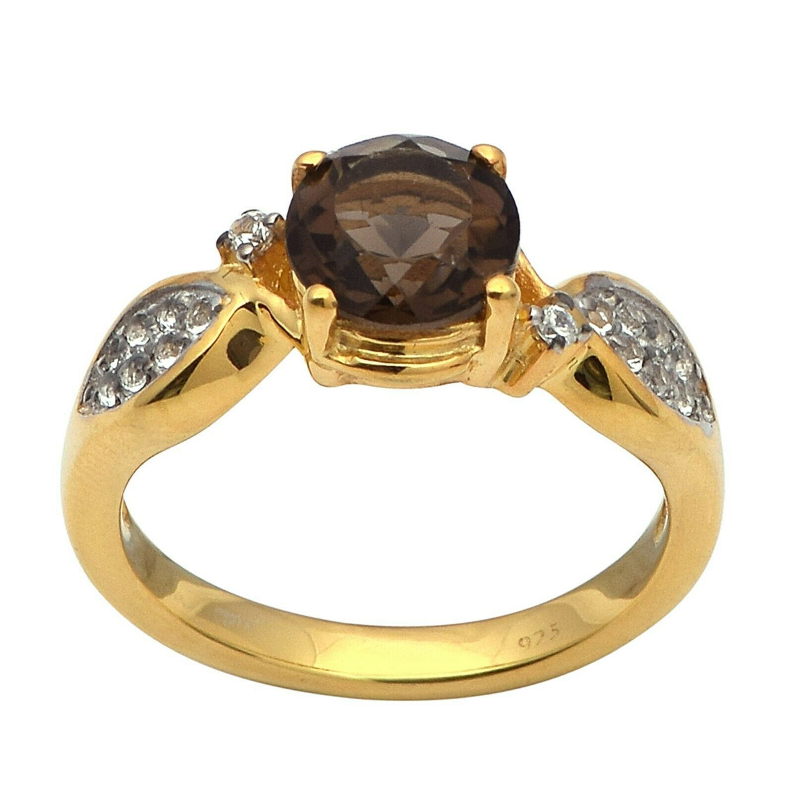 Smoky Quartz White Zircon Sterling Silver 925 Gold Rhodium Solitaire Women Ring