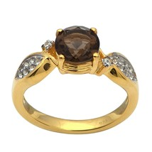 Smoky Quartz White Zircon Sterling Silver 925 Gold Rhodium Solitaire Wom... - $20.19