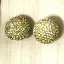 vintage Trifari crystal dome rhinestone round earrings - $19.79