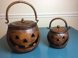 Jack O Lantern Metal Rustic Kettle Pumpkin Halloween Decor Set Candle La... - $39.60
