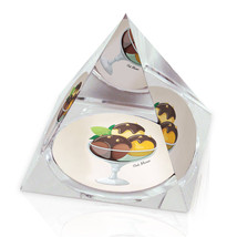 "3 Flavor Ice Cream Sundae Illustration Art 3.25"" Crystal Pyramid Paperwe... - $29.95"