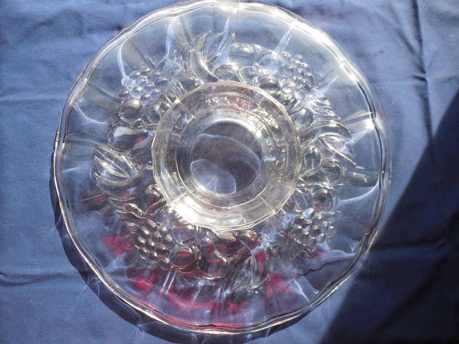 "Indiana Glass Garland Fruit Pedestal Torte Cake Serving Platter Plate 13"""