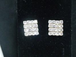 Vintage Rhinestone Square Post Earrings - $37.39
