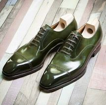 Handmade Men's Green Two Tone Dress/Formal Oxford Leather Shoes image 4