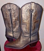 Walk In Style Black/Bronze Studded Women's Cowboy Boots Size 8 - $79.99