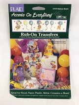 Balloon Bears 57079 Rub-On Transfers Plaid Accents 1994 Lucy Rigg New - $7.97