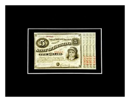 1876 $5 State Of Louisiana Baby Bond With Coupons Brown Red Ink #18641 o... - $44.55