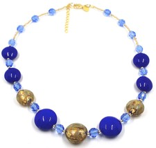 """NECKLACE BLUE YELLOW MURANO GLASS DISC & GOLD LEAF, MADE IN ITALY, 50cm, 20"""" image 1"""