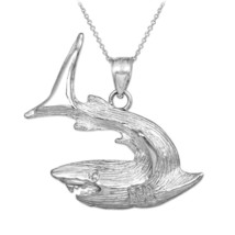 Sterling Silver Textured Shark Pendant Necklace - $24.99+