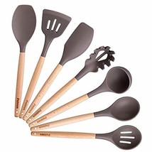 Silicone Cooking Kitchen Utensils Set,Bamboo Wooden Handles Cooking Tool... - $31.10