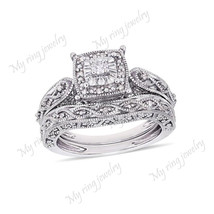 14k White Gold Finish Pure 925 Silver Women's Wedding Engagement Bridal ... - $69.32