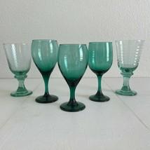 5 - Vintage Mismatched Green Glassware Libbey Wine Glasses Boho 90's Goblets Lot - $40.59