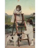 Vintage Postcard Jack Russell Terrier Dog Girl on Ladder Little Boy Earl... - $7.91