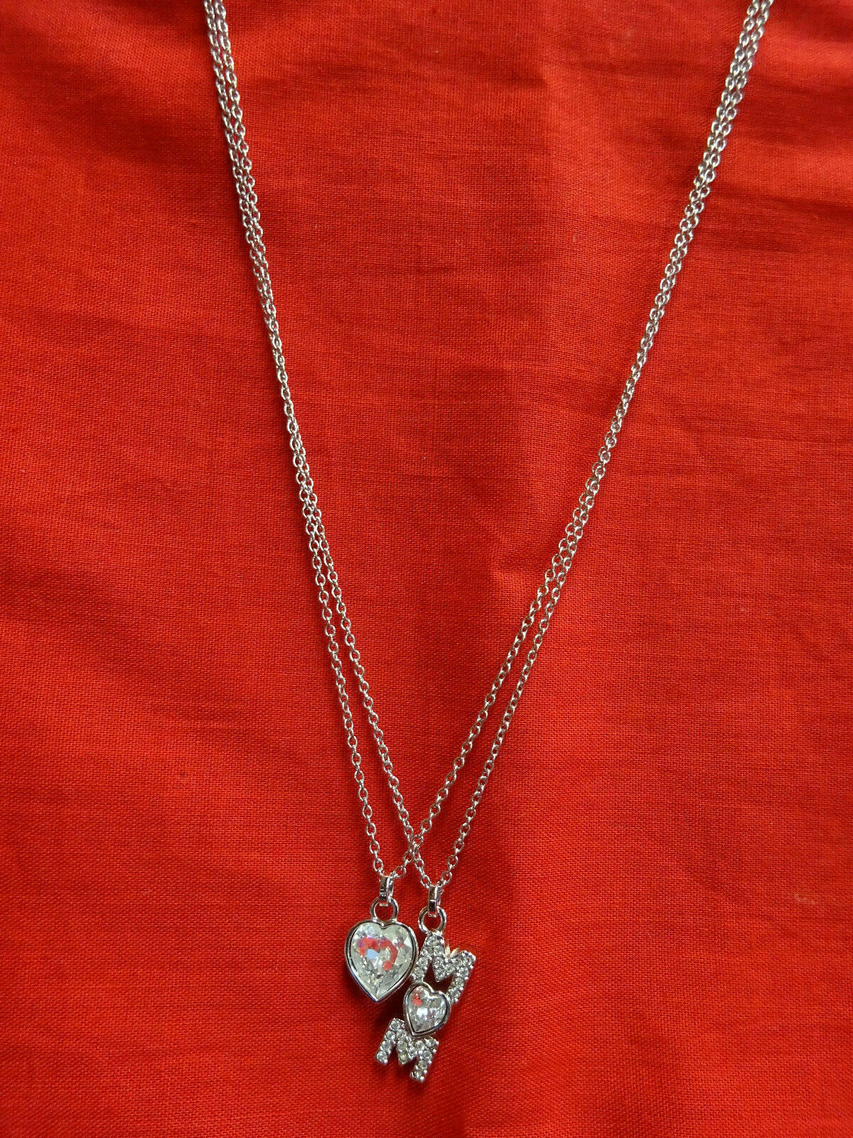 Authentic SWAROVSKI 2 Strand Silver Crystal Necklace Heart Mom Swan Signed w BOX image 2