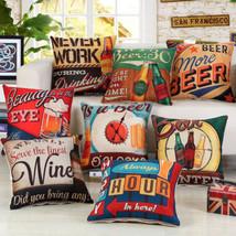 45x45cm Fashion Wine Beer Printing Cushions Cover Cheer Drinks Linen Pillowcase - $3.72+