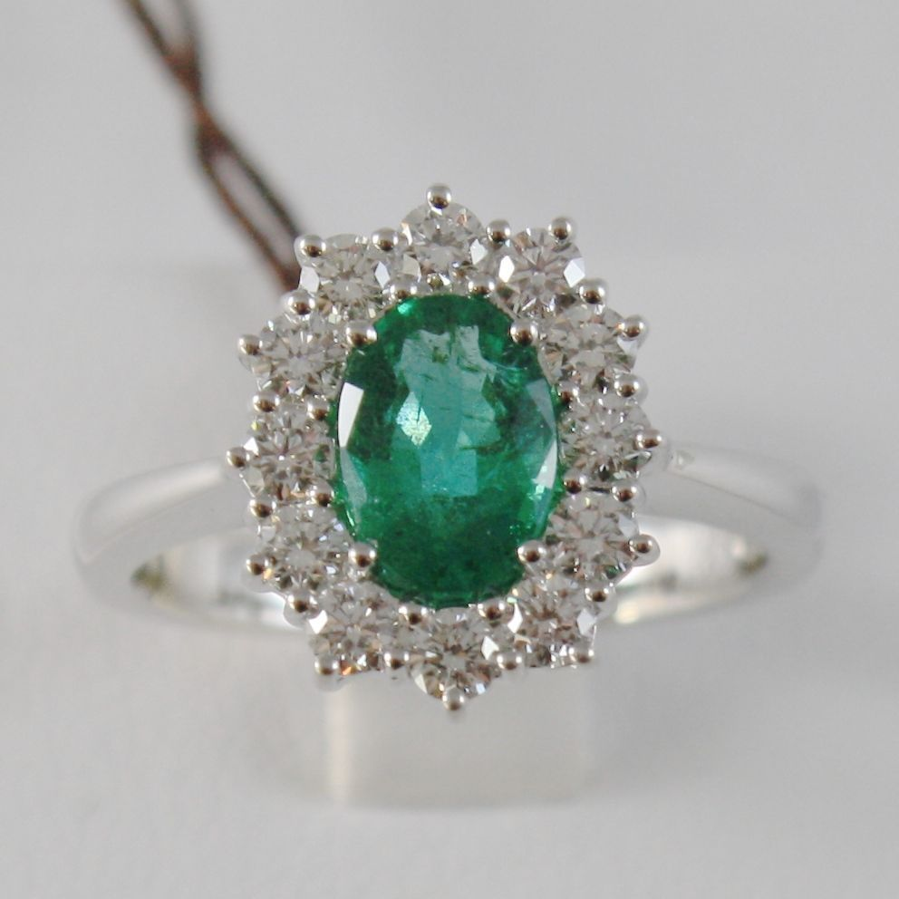 18K WHITE GOLD FLOWER RING WITH DIAMONDS & OVAL GREEN EMERALD 1.02 MADE IN ITALY
