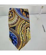 COUNTESS MARA Men's Colorful Paisley 100% Silk Tie Blue Gold Yellow Neck... - $22.75