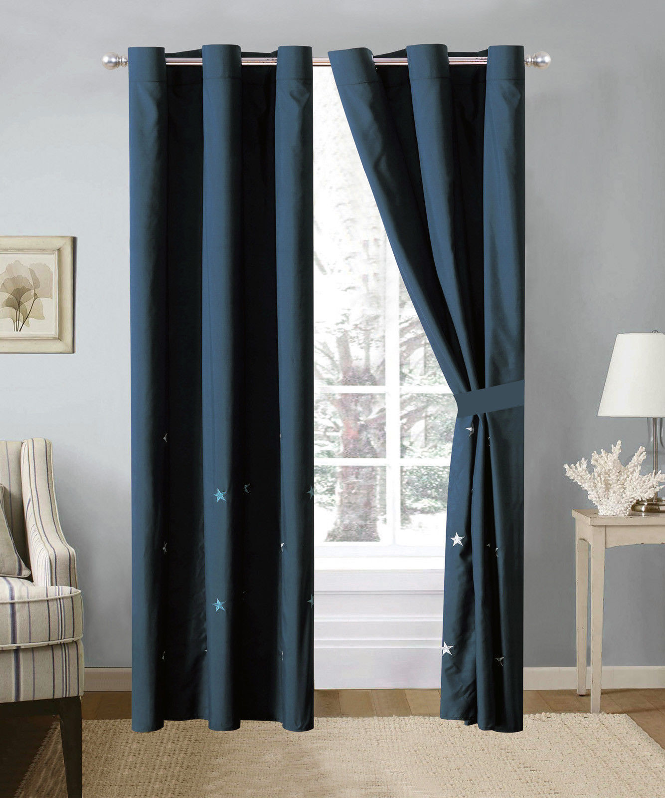 Primary image for 4P Western Star Embroidery Curtain Set Blue Navy Metal Grommet Sheer Liner Drape
